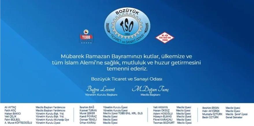 Bozüyük TSO Ramazan Bayramı Kutlama Mesajı