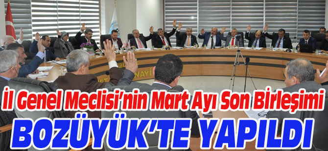 İL GENEL MECLİSİ'NİN MART AYI SON BİRLEŞİMİ BOZÜYÜK'TE YAPILDI